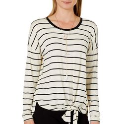 Tru Self Womens Striped Tie Front Long Sleeve Top