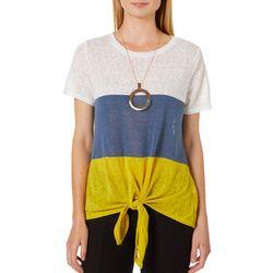 Tru Self Womens Colorblock Tie Front Top &