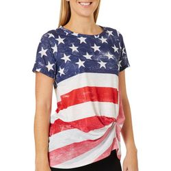 Tru Self Womens Stars & Stripes Twist Front Americana Top