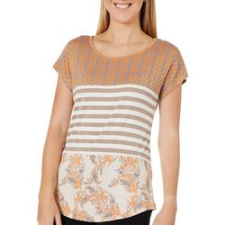 Tru Self Womens Mixed Print Crochet Back Short Sleeve Top