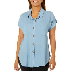 Tru Self Womens Solid Cuff Sleeve Button Down Top
