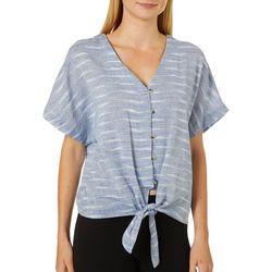 Tru Self Womens Striped Tie Front Button Down Top