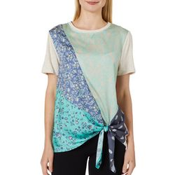 Tru Self Womens Floral Damask Print Tie Front Top