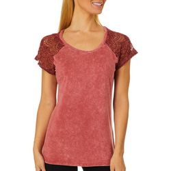Tru Self Womens Solid Lace Panel Short Sleeve Top