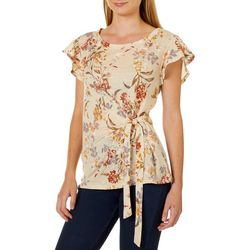 Tru Self Womens Floral Print Tie Front Flutter Sleeve Top