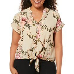 Tru Self Womens Floral Tie Front Button Down Top