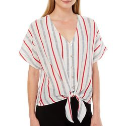 Tru Self Womens Striped Tie Front Button Down Top