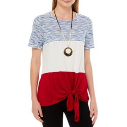 Tru Self Womens Americana Colorblock Tie Front Top
