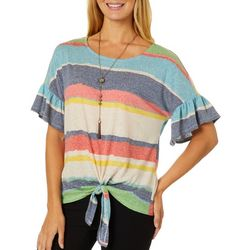 Tru Self Womens Necklace & Striped Ruffle Sleeve Top