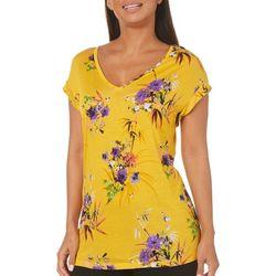 Philosophy Womens Floral Print Short Sleeve Top