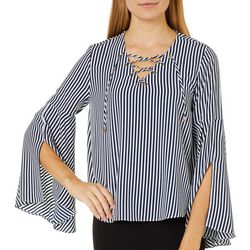 Philosophy Womens Striped Lace-Up Bell Sleeve Top