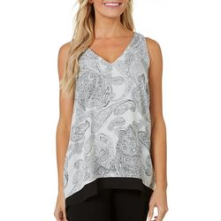 Philosophy Womens Layered Paisley Print High-Low Top