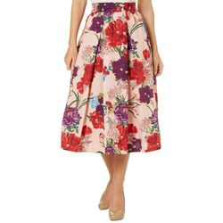 Philosophy Womens Floral Print Pleated Pocket Skirt
