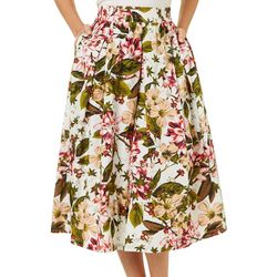 Philosophy Womens Floral Print Pocket Pleated Skirt