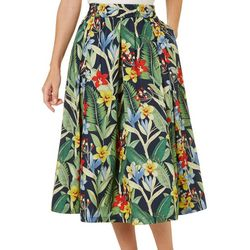 Philosophy Womens Tropical Print Pleated Pocket Skirt