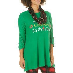 Allison Brittney Womens Drink Up Grinches Tunic & Scarf Set
