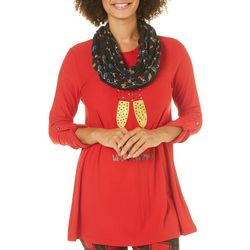 Allison Brittney Womens Wine Christmas Tunic & Scarf Set