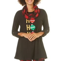 Allison Brittney Womens Ho Ho Ho Tunic & Scarf Set