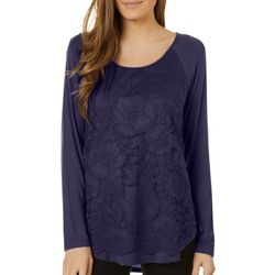 Harlow and Rose Womens Solid LAce Panel Raglan Sleeve Top