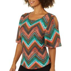 Allison Brittney Womens Chevron Cold Shoulder Top
