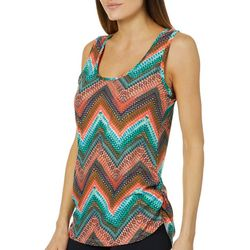 Allison Brittney Womens Ruched Chevron Print Tank Top