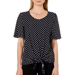 Allison Brittney Womens Dot Print Tie Front Short Sleeve Top