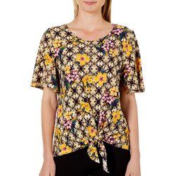 Allison Brittney Womens Floral Tie Front Short Sleeve Top