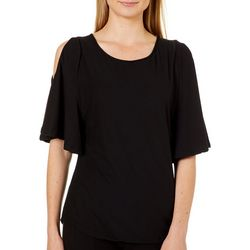 Allison Brittney Womens Solid Cold Shoulder Top