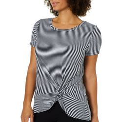 Harlow and Rose Womens Striped Knit Front Knot Top