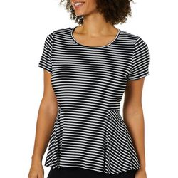Harlow and Rose Womens Striped Knit Peplum Top