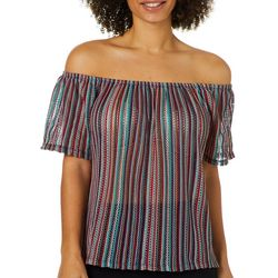 Harlow and Rose Womens Vertical Striped Off The Shoulder Top