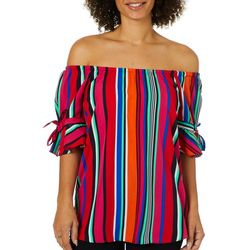 Harlow and Rose Womens Striped Ruffle Off The Shoulder Top