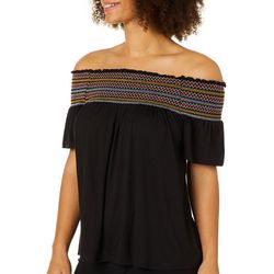 Harlow and Rose Womens Smocked Off The Shoulder Top
