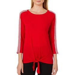 Harlow and Rose Womens Athletic Stripe Tie Front Top