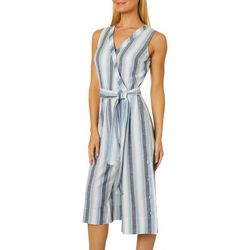 Harlow and Rose Womens Belted Vertical Stripe Jumpsuit