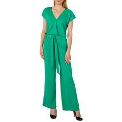 Harlow and Rose Womens Solid Elastic Waist V-Neck Jumpsuit