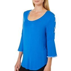 Harlow and Rose Womens Solid Lace-Up Bell Sleeve Top