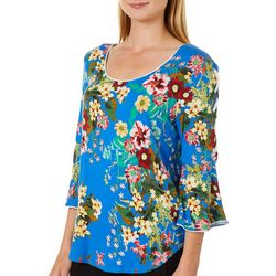 Harlow and Rose Womens Floral Print  Lace-Up Bell Sleeve Top