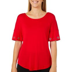 Harlow and Rose Womens Solid Grommet Ruffle Sleeve Top