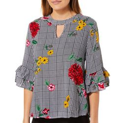 Harlow and Rose Womens Ruffled Floral Houndstooth Top