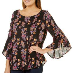Harlow and Rose Womens Floral Paisley Bell Sleeve Top