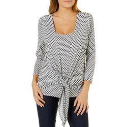 Harlow and Rose Womens Floral Geo Tie Front Top