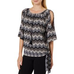 Harlow and Rose Womens Chevron Tassel Open Sleeve Top