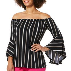Harlow and Rose Womens Striped Bell Sleeve Top