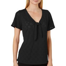 Harlow and Rose Womens Solid Knit Eyelet Short Sleeve Top