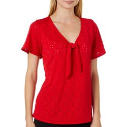 Harlow and Rose Womens Solid Knit Eyelet Short