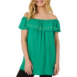 Harlow and Rose Womens Solid Ruffle Off The Shoulder Top