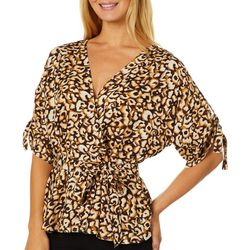 Harlow and Rose Womens Leopard Print Faux Wrap Woven Top