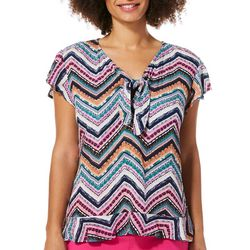 Harlow and Rose Womens Chevron Print Ruffle Sleeve Top