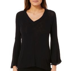 Harlow and Rose Womens Solid Bell Sleeve Top